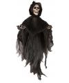 Halloween bewegend decoratie skelet met zwarte kap
