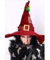 Halloween bordeaux heksenhoed met decoratie