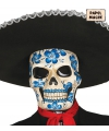 Halloween doodshoofd masker met blauwe bloemen