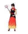 Halloween duivel dames kostuum met vlammen