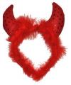 Halloween duivel diadeem met veren en pailletten