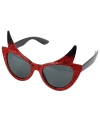 Halloween duivel zonnebril met glitters
