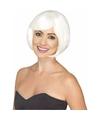 Halloween glow in the dark witte damespruik kort haar