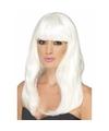 Halloween glow in the dark witte pruik lang haar