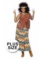 Halloween grote maten hippie kostuum voor dames