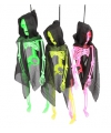Halloween hangend neon skelet in cape 41 cm