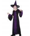 Halloween heksen kinder kostuum zwart paars