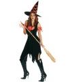 Halloween heksen kostuum zwart oranje