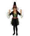 Halloween heksenjurk met groene pailletten voor meisjes
