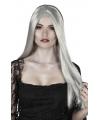 Halloween heksenpruik lang grijs haar