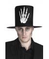 Halloween hoge hoed zwart met skelet hand