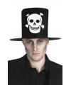 Halloween hoge hoed zwart met skelet