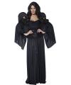 Halloween kerkhof zwarte engel kostuum met vleugels