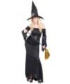 Halloween lange zwarte heksenjurk