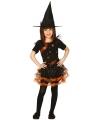 Halloween oranje heksen jurk kinderen