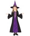 Halloween paarse heksen jurk kinderen