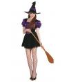 Halloween paarse heksenjurkje inclusief hoed