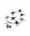 Halloween plastic spinnen 10 cm set 8 stuks