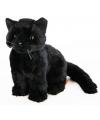 Halloween pluche zittende knuffel kat zwart 20 cm