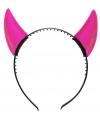 Halloween roze duivel horens op diadeem