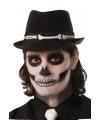 Halloween trilby hoed met botten print voor volwassenen