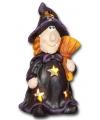 Halloween waxinelichthouder heks met bezem 17 5cm