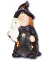 Halloween waxinelichthouder heks met kat 17 5cm
