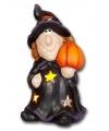 Halloween waxinelichthouder heks met pompoen 21cm
