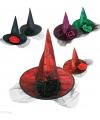 Halloween zwarte heksenhoed met spinnenweb