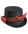 Halloween zwarte hoge hoed halloween met rode duivel hoorns