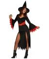 Halloween zwarte lange heksen jurk met rode details
