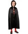 Halloween zwarte satijnen cape voor kinderen