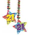 Hangdecoratie sterren 21 jaar