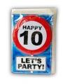 Happy birthday kaart met button 10 jaar