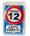 Happy birthday kaart met button 12 jaar