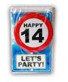 Happy birthday kaart met button 14 jaar