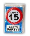 Happy birthday kaart met button 15 jaar
