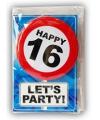 Happy birthday kaart met button 16 jaar