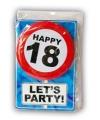 Happy birthday kaart met button 18 jaar