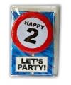 Happy birthday kaart met button 2 jaar