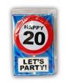 Happy birthday kaart met button 20 jaar