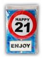 Happy birthday kaart met button 21 jaar