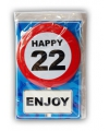Happy birthday kaart met button 22 jaar