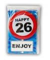 Happy birthday kaart met button 26 jaar