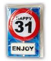 Happy birthday kaart met button 31 jaar