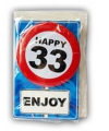 Happy birthday kaart met button 33 jaar