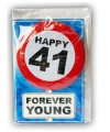 Happy birthday kaart met button 41 jaar