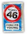 Happy birthday kaart met button 46 jaar