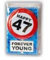 Happy birthday kaart met button 47 jaar