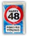 Happy birthday kaart met button 48 jaar